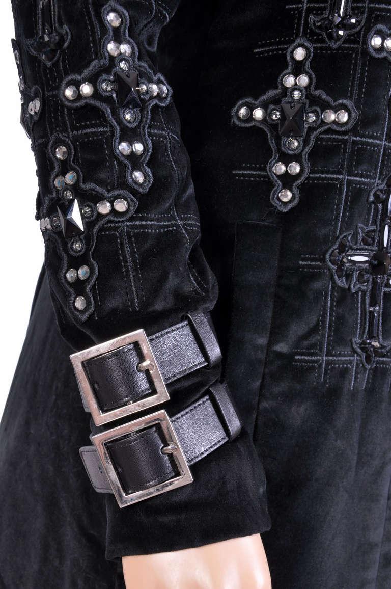 New VERSACE Black Velvet Crystal Cross Embellished Coat as seen on Donatella For Sale 2