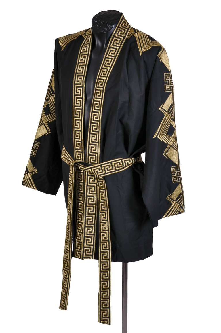 08360a671 Men's VERSACE Belted Embroidered Black Wool Blend Kimono Jacket For Sale