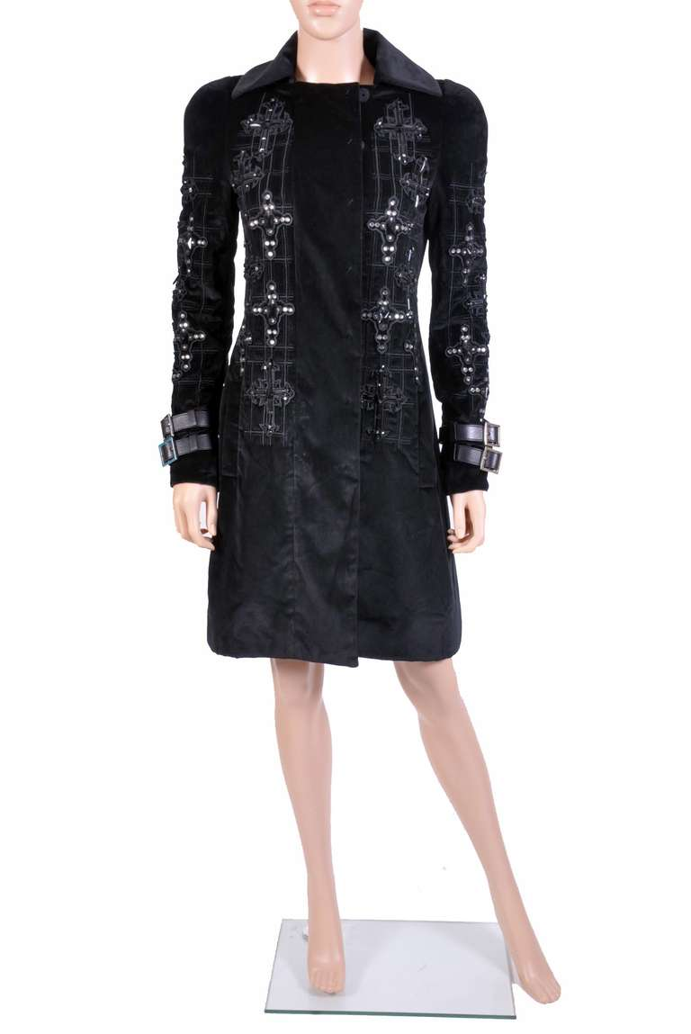 New VERSACE Black Velvet Crystal Gothic Cross Embellished Flared Coat 6