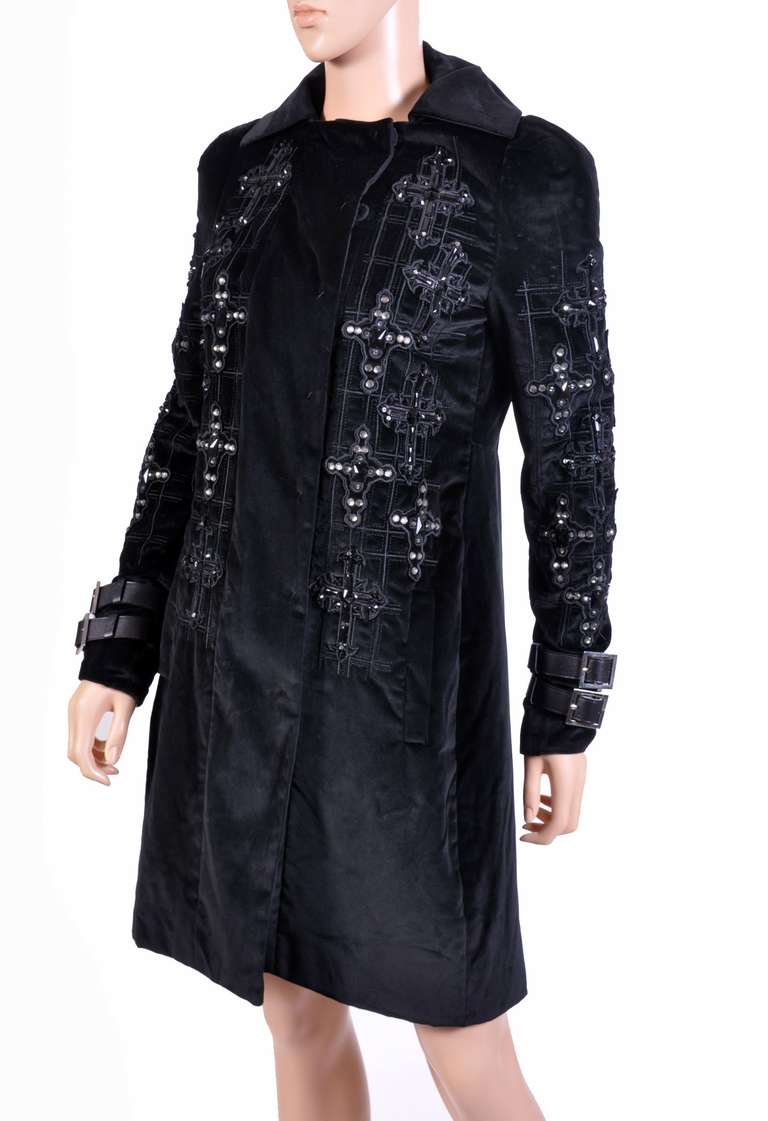 New VERSACE Black Velvet Crystal Gothic Cross Embellished Flared Coat 7