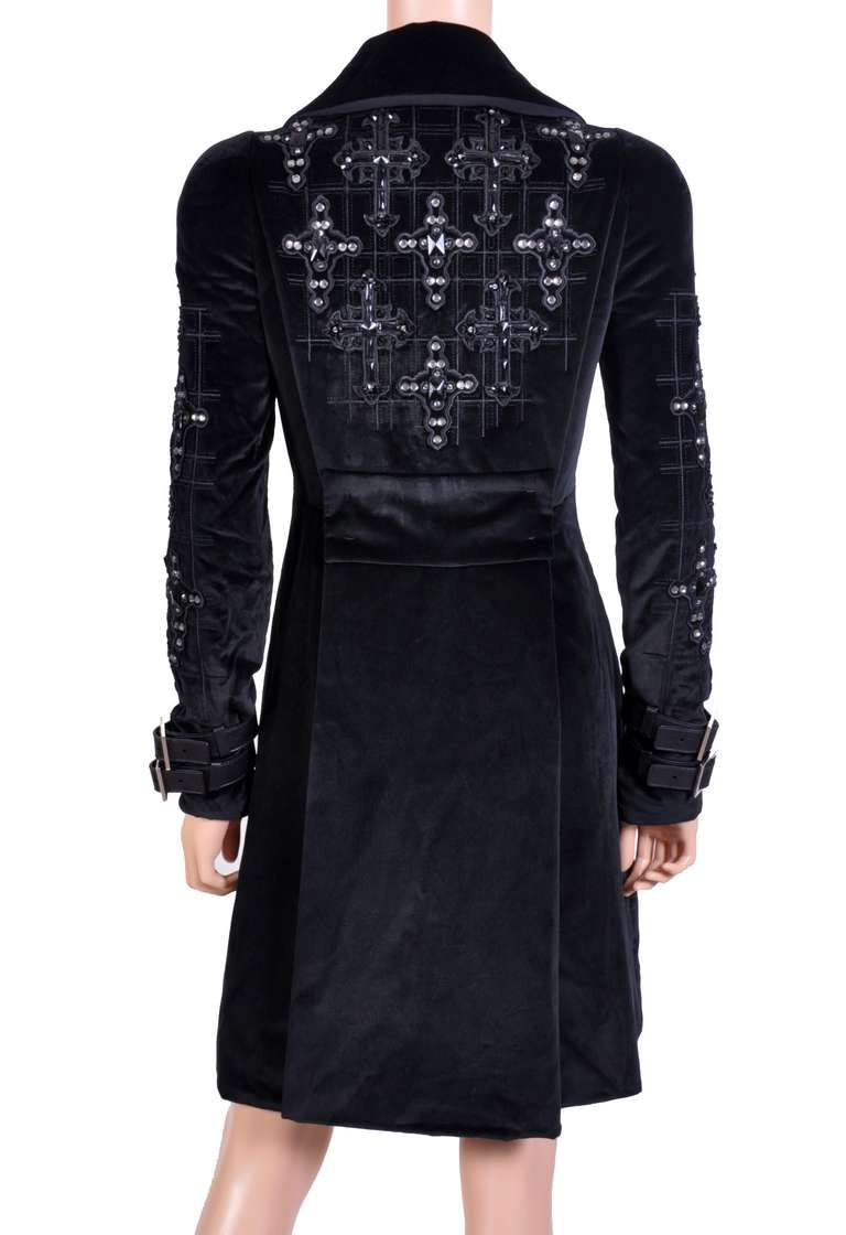 New VERSACE Black Velvet Crystal Gothic Cross Embellished Flared Coat 8