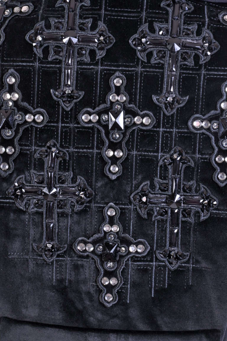 New VERSACE Black Velvet Crystal Cross Embellished Coat as seen on Donatella For Sale 6
