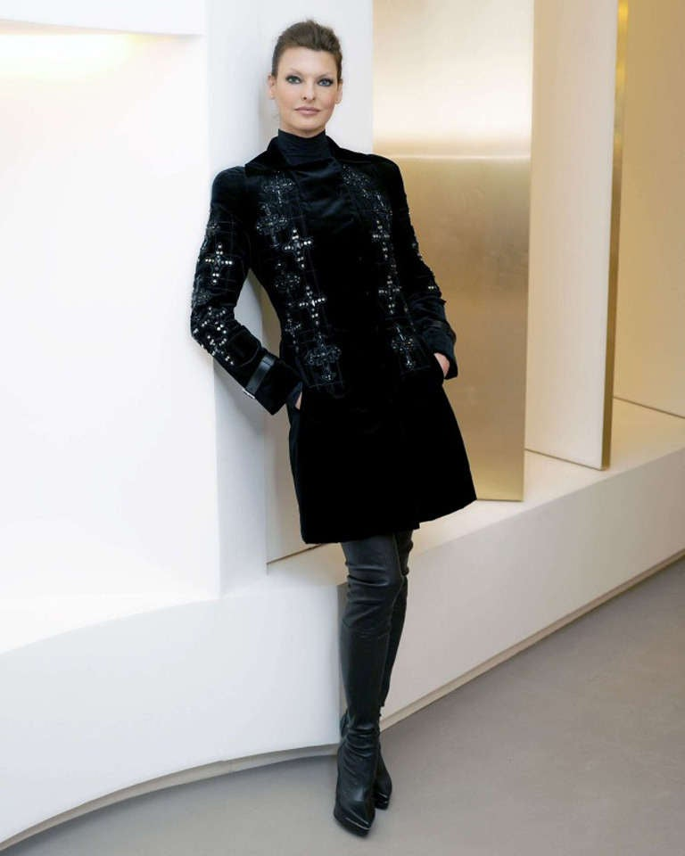 New VERSACE Black Velvet Crystal Cross Embellished Coat as seen on Donatella In New Condition For Sale In Montgomery, TX