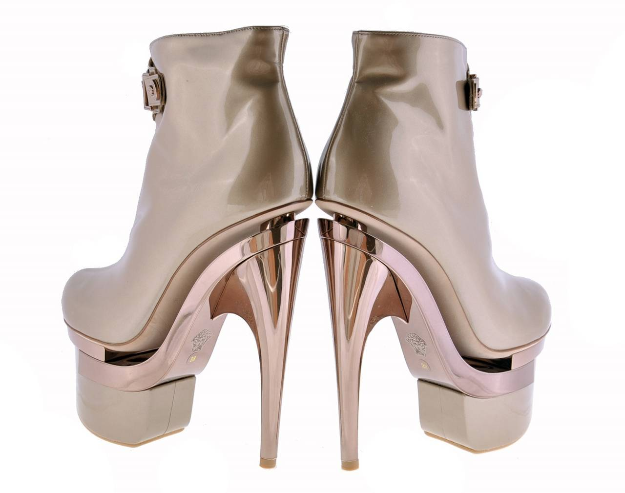 New VERSACE ROSE GOLD TRIPLE PLATFORM BOOTS  3