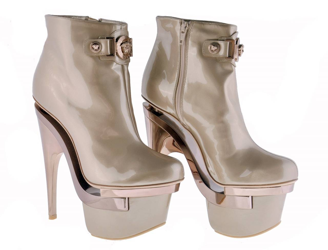 New VERSACE ROSE GOLD TRIPLE PLATFORM BOOTS  2