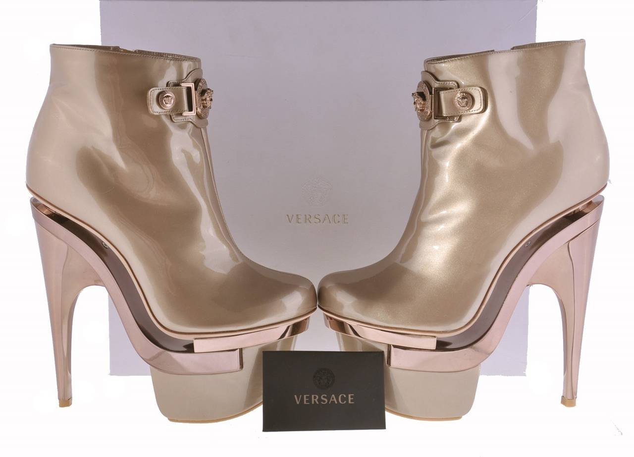 New VERSACE ROSE GOLD TRIPLE PLATFORM BOOTS  5