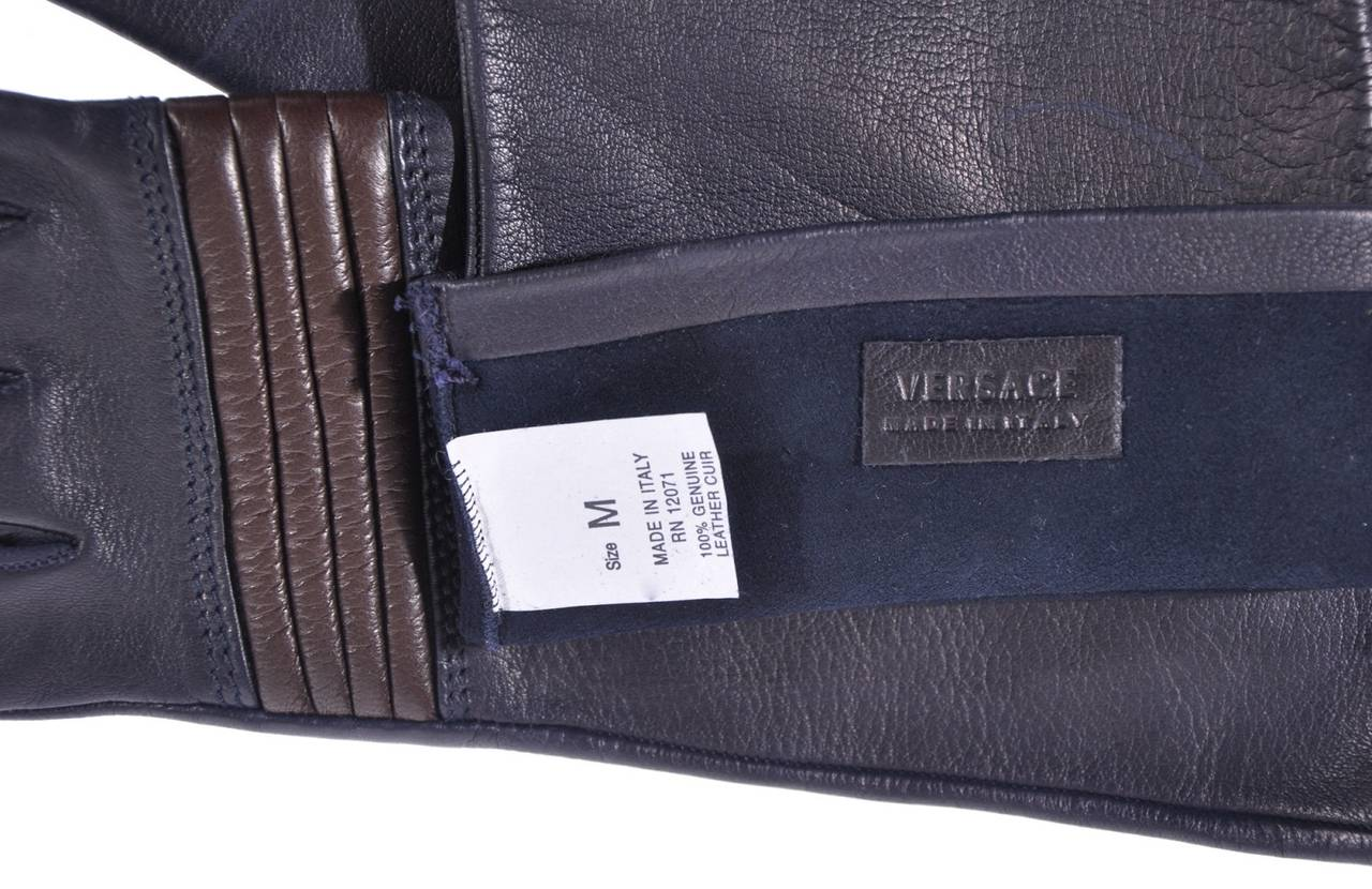 Black NEW VERSACE LONG LEATHER GLOVES sz. M For Sale