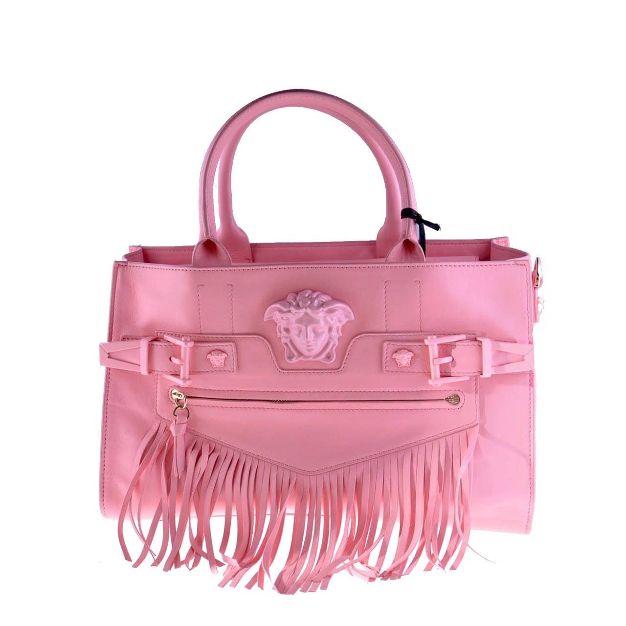 b7177e6a48 New Versace Pink Leather Palazzo Handbag at 1stdibs