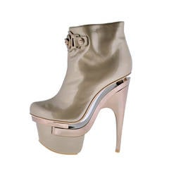 New VERSACE ROSE GOLD TRIPLE PLATFORM BOOTS
