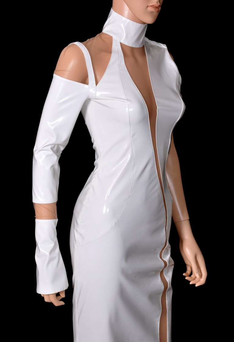 Versace White Japanese Vinyl Gown At 1stdibs