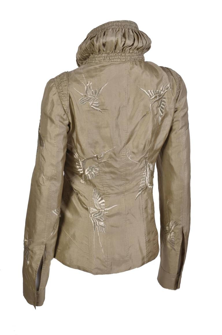 Brown S/S 2003 Tom Ford for Gucci Embroidered Jacket For Sale