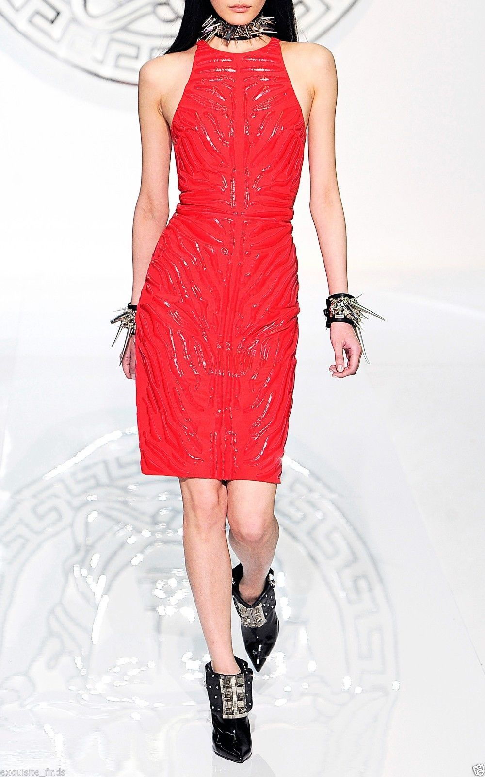 Versace Red Crepe Cady Sheath Dress With Vinyl Animal Stripes 2