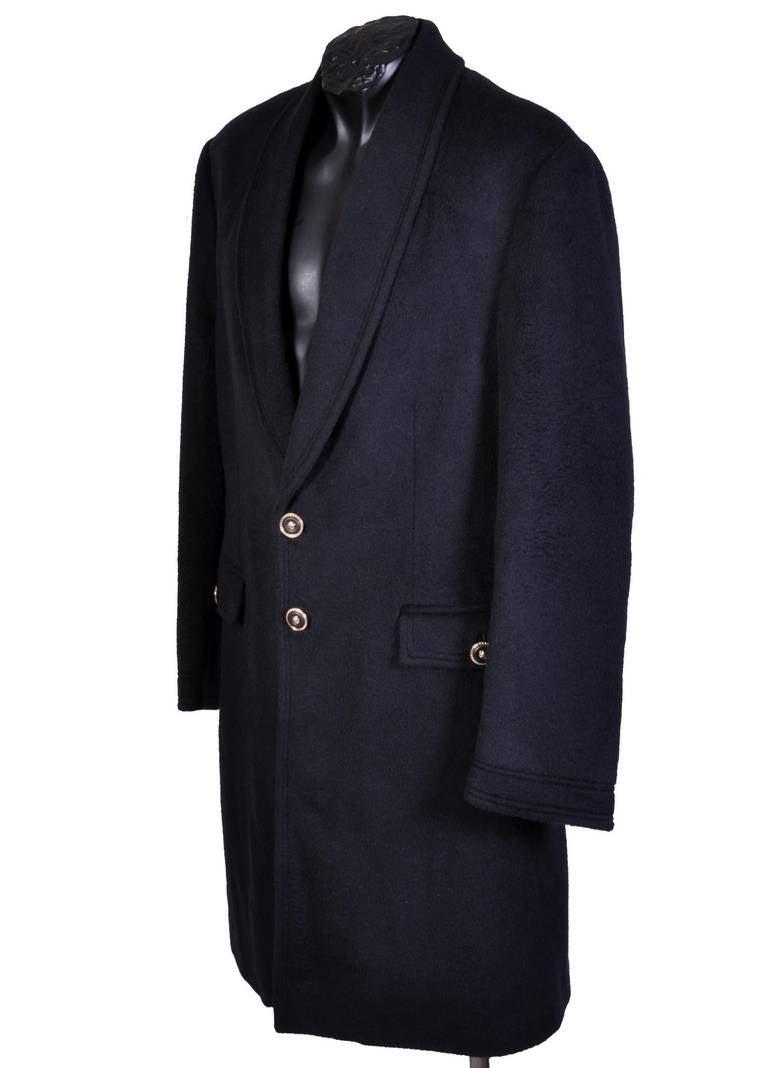 Black New VERSACE BLACK ANGORA CASHMERE WOOL MEN'S COAT For Sale