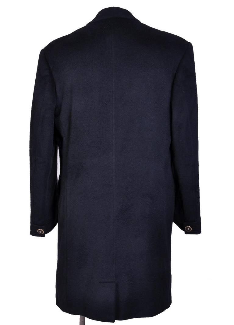 New VERSACE BLACK ANGORA CASHMERE WOOL MEN'S COAT For Sale 1