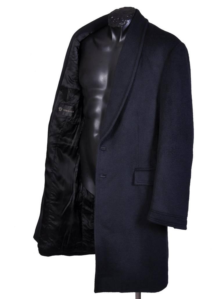 New VERSACE BLACK ANGORA CASHMERE WOOL MEN'S COAT For Sale 2