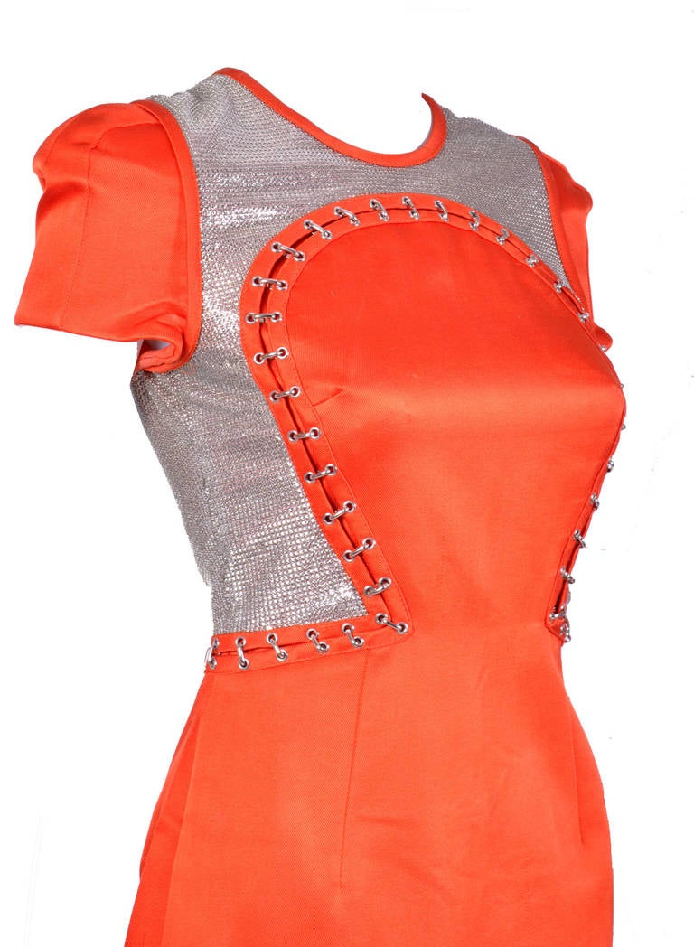 Red New VERSACE Orange Chain Mesh Panel Dress For Sale