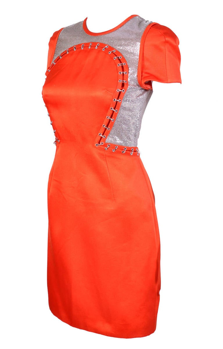New VERSACE Orange Chain Mesh Panel Dress In New never worn Condition For Sale In Montgomery, TX
