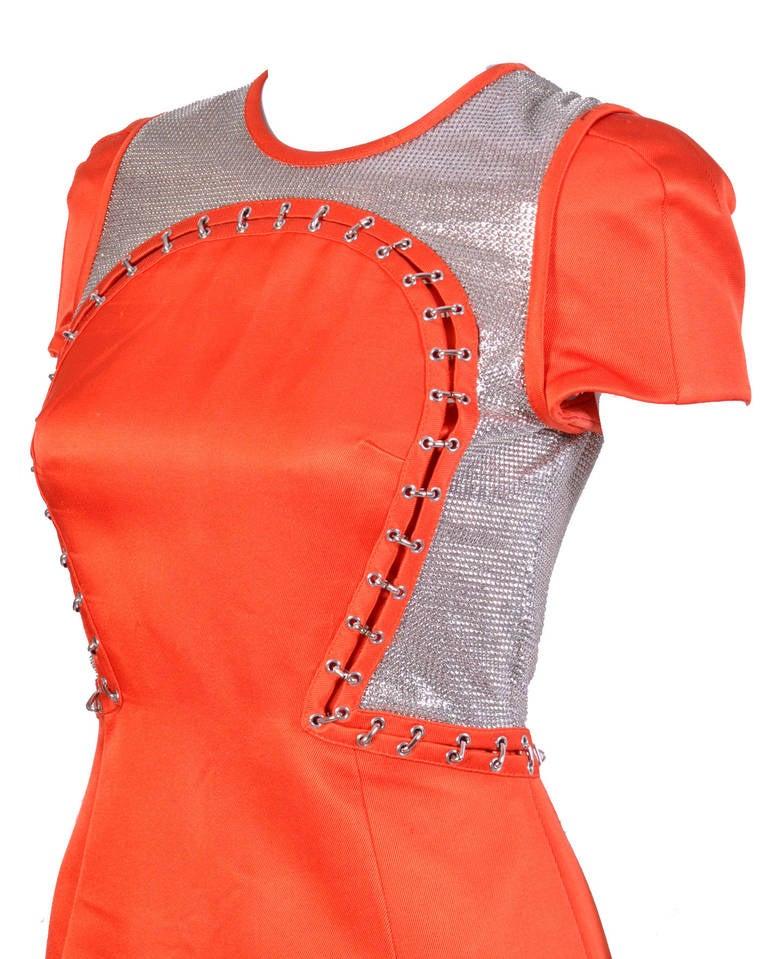 Women's New VERSACE Orange Chain Mesh Panel Dress For Sale