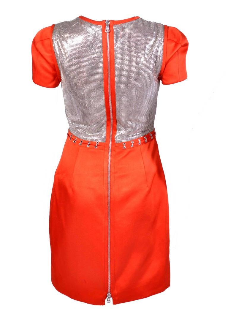 New VERSACE Orange Chain Mesh Panel Dress For Sale 1