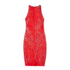 Versace Red Crepe Cady Sheath Dress With Vinyl Animal Stripes