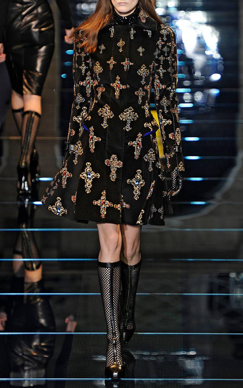 VERSACE Black Velvet Gothic Cross Print Flared Coat For Sale 3