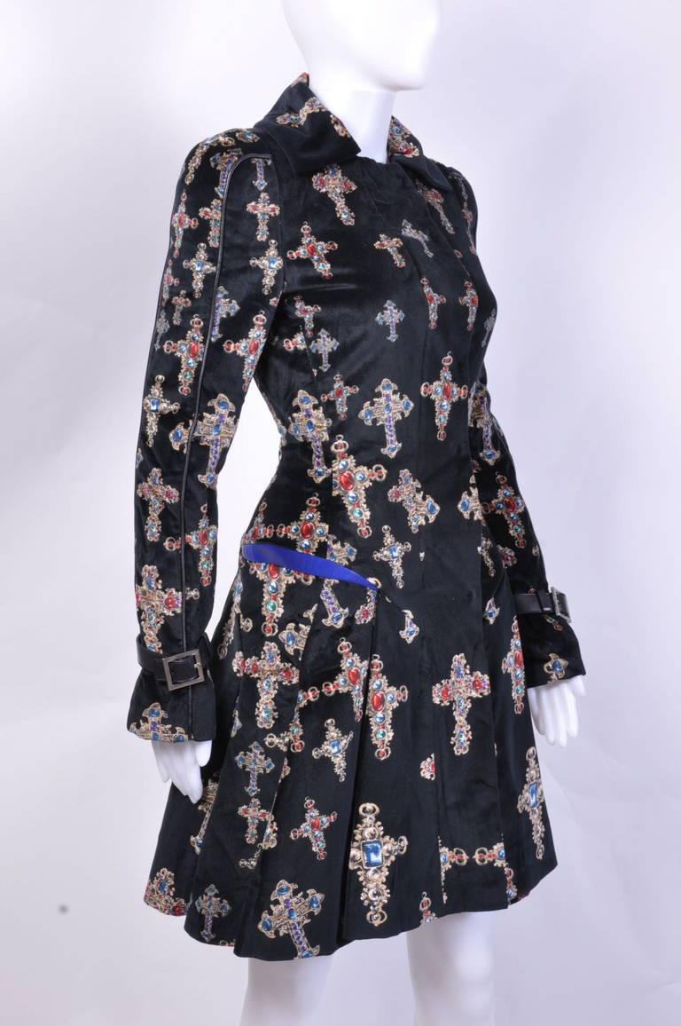 VERSACE Black Velvet Gothic Cross Print Flared Coat For Sale 1