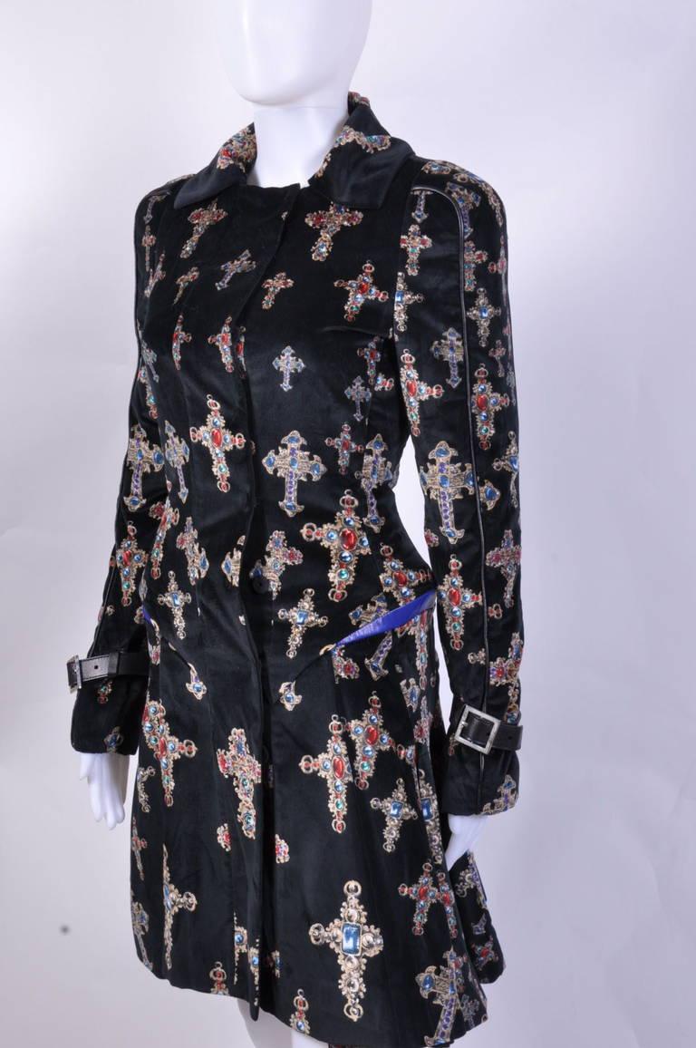 VERSACE Black Velvet Gothic Cross Print Flared Coat For Sale 2