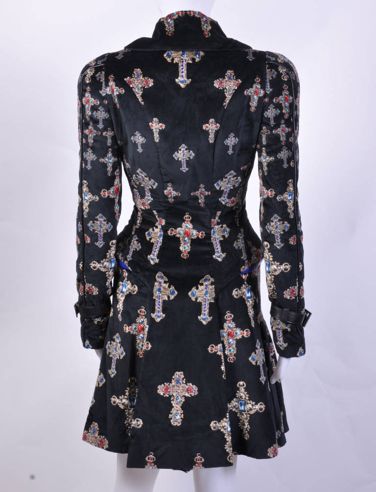 VERSACE Black Velvet Gothic Cross Print Flared Coat In New never worn Condition For Sale In Montgomery, TX