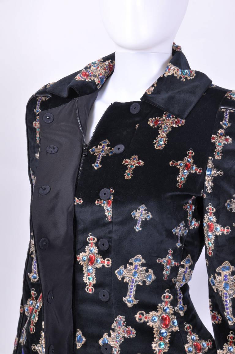 Women's VERSACE Black Velvet Gothic Cross Print Flared Coat For Sale