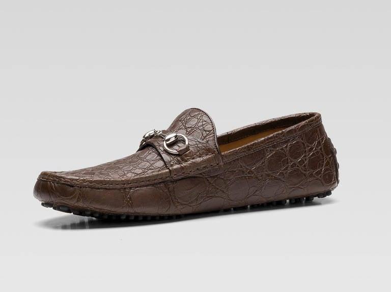 gucci mens shoes. gucci men\u0027s driver shoes brown crocodile with horsebit 2 mens