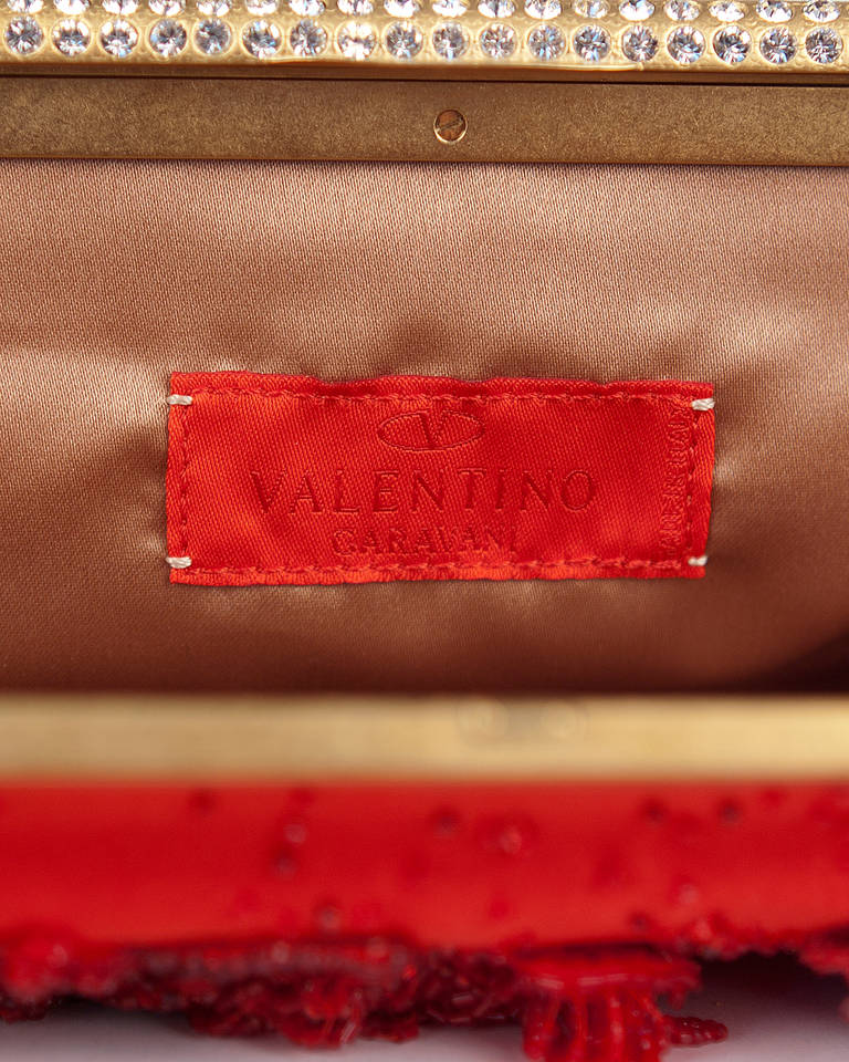 New VALENTINO RED BEADED EVENING CLUTCH 5