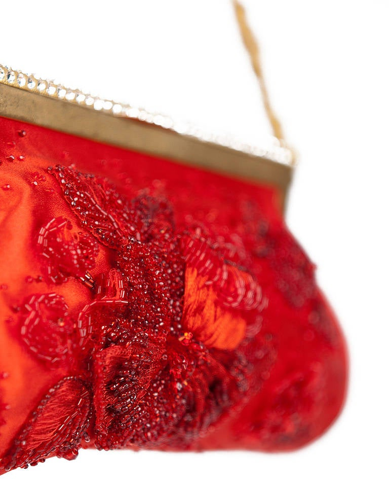 New VALENTINO RED BEADED EVENING CLUTCH 2