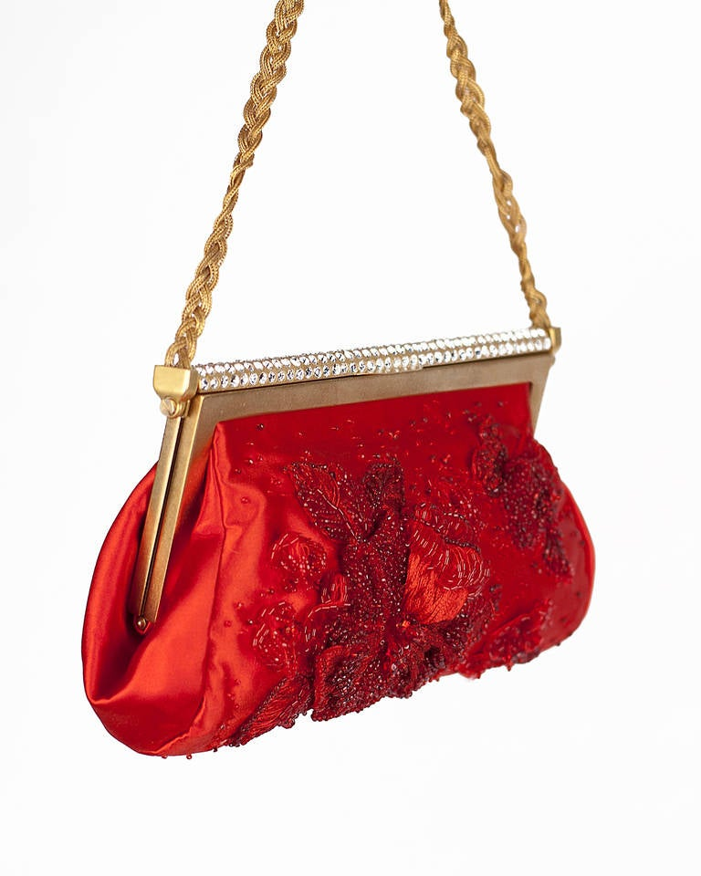New VALENTINO RED BEADED EVENING CLUTCH 6