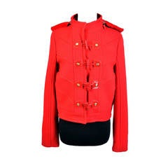New VERSACE Red Wool Jacket with Shearling Fur Hood