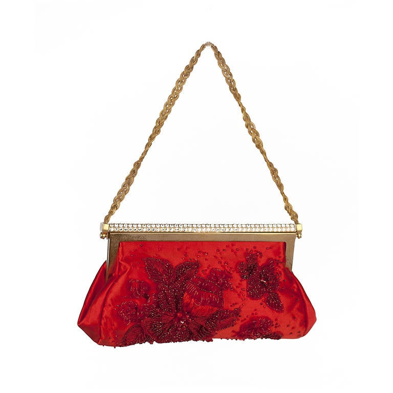New VALENTINO RED BEADED EVENING CLUTCH 1