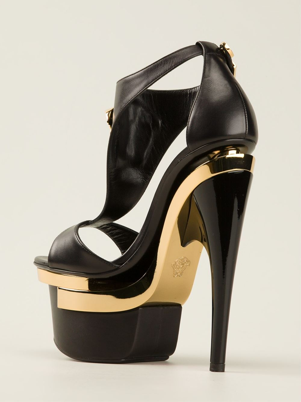 abebf5517f6 ERSACE Black Leather Triple Platform Shoes with Gold Medusa