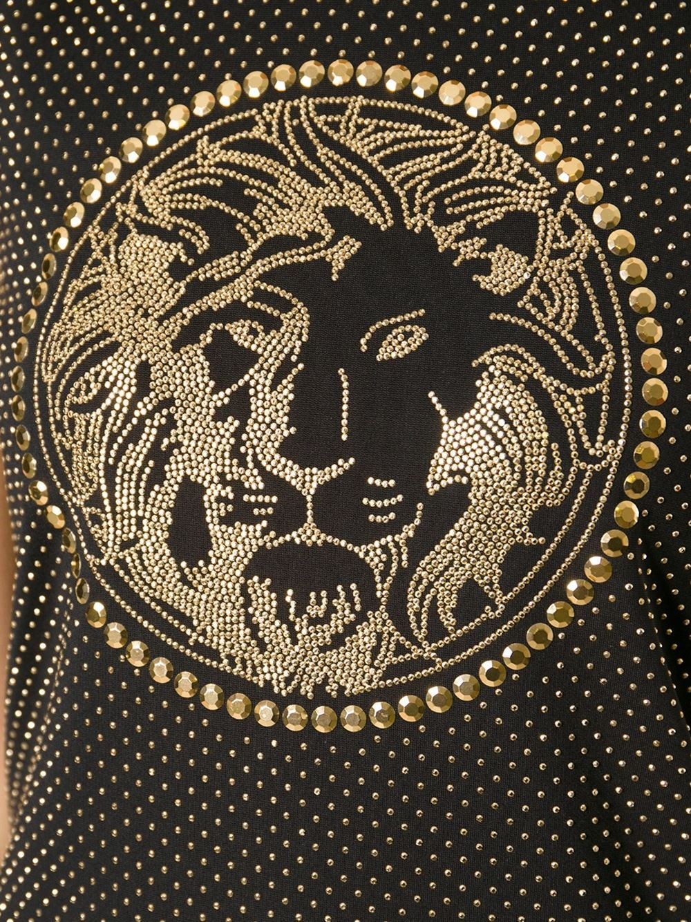 New Versace Versus Black Gold Studded Lionhead Dress In New never worn Condition For Sale In Montgomery, TX