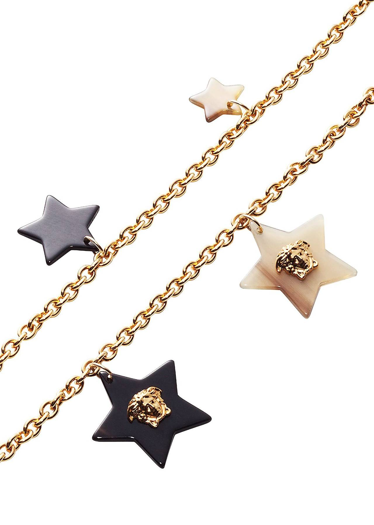 New Versace Gold Star Medusa Charm Chain Necklace 2
