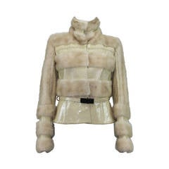 VERSACE MINK PATENT LEATHER JACKET with BELT