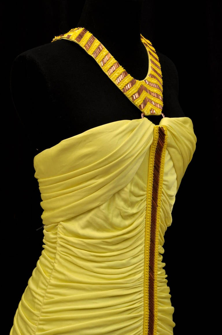 Versace embellished yellow ruched dress  IT Size: 42  New, with tags