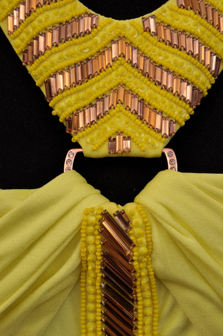 Brown Versace embellished yellow ruched dress For Sale