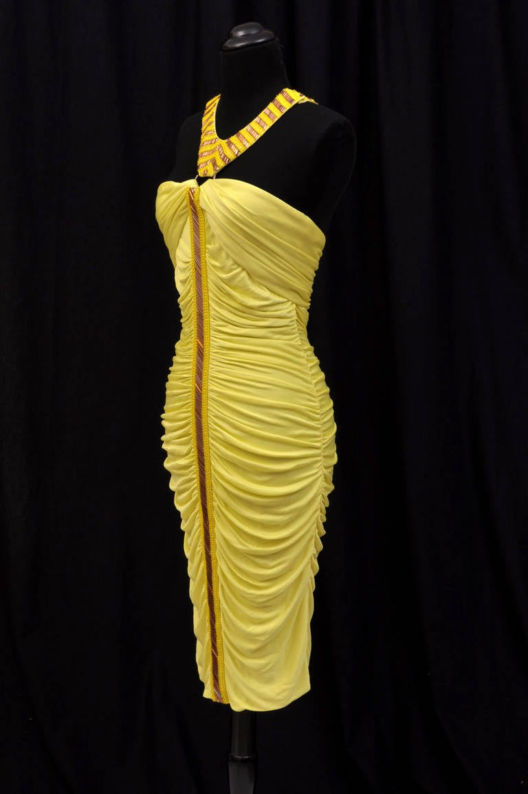 Versace embellished yellow ruched dress In New Never_worn Condition For Sale In Montgomery, TX
