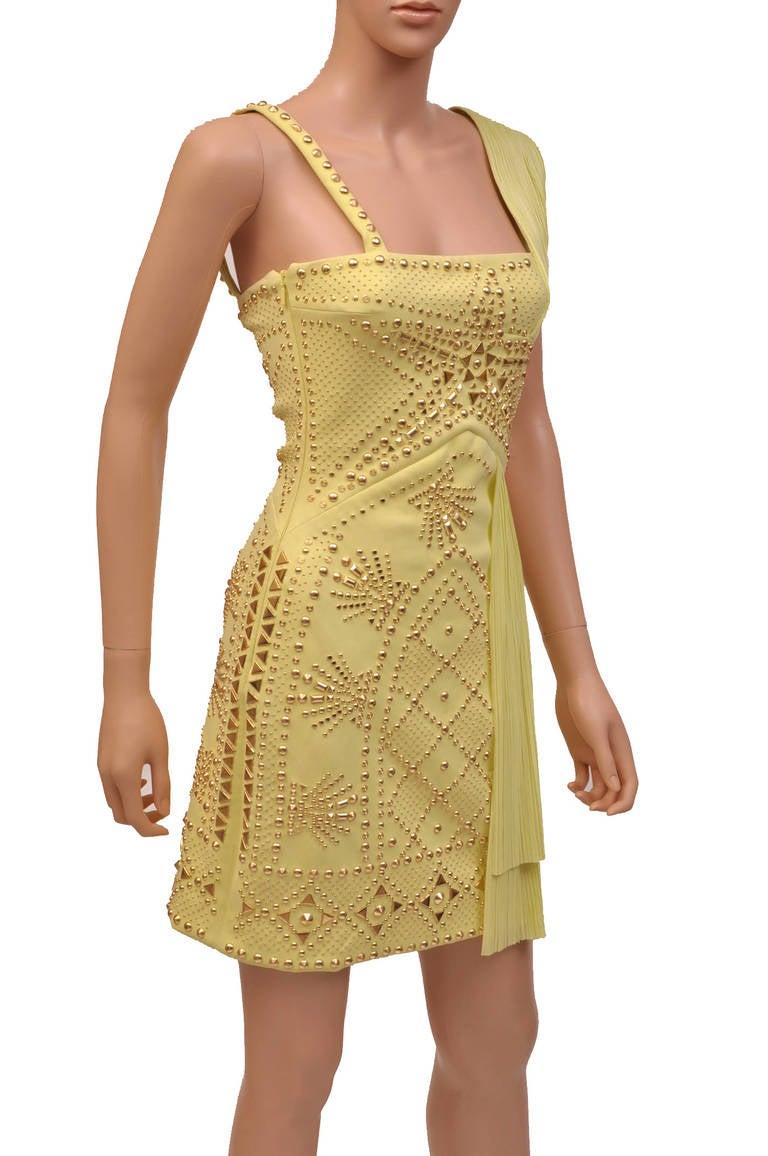 Beige VERSACE Yellow studded plissé and scuba-jersey dress For Sale