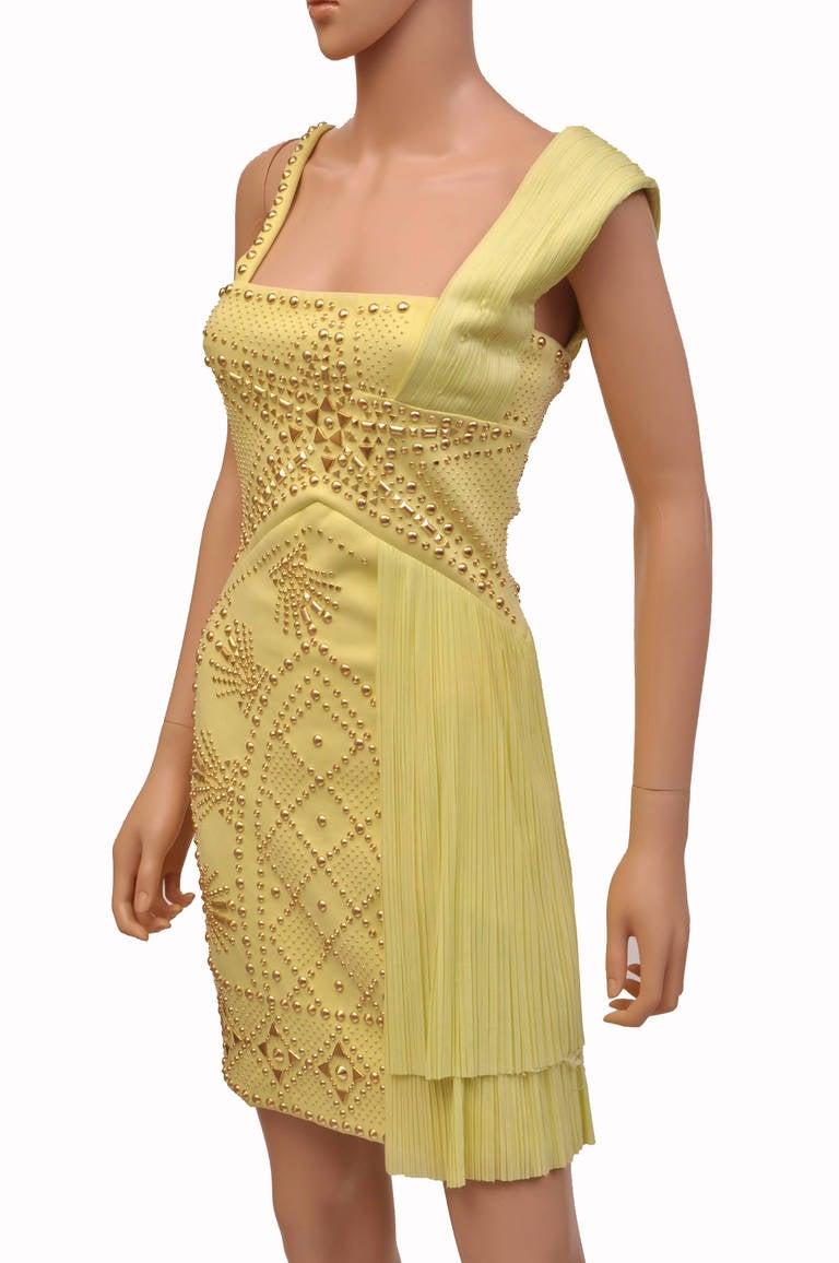 Women's VERSACE Yellow studded plissé and scuba-jersey dress For Sale