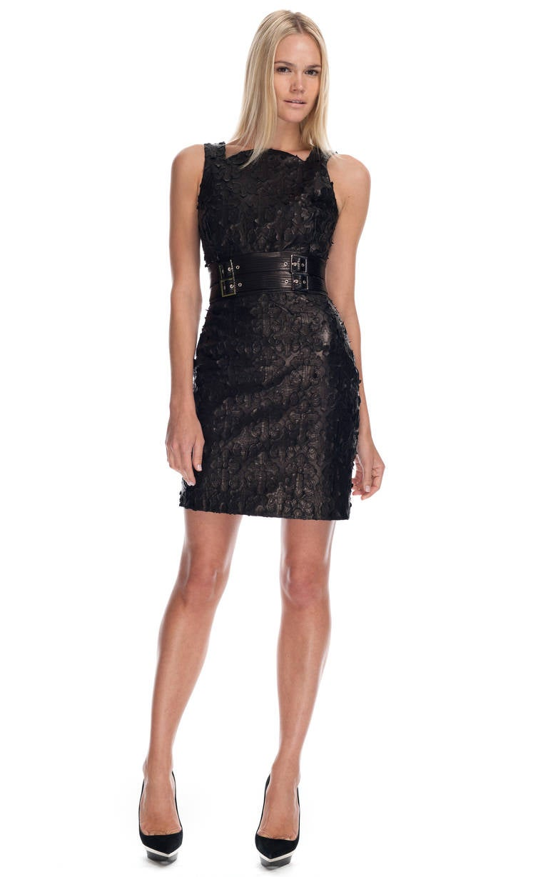 VERSACE Textured Leather Sheath Dress 4