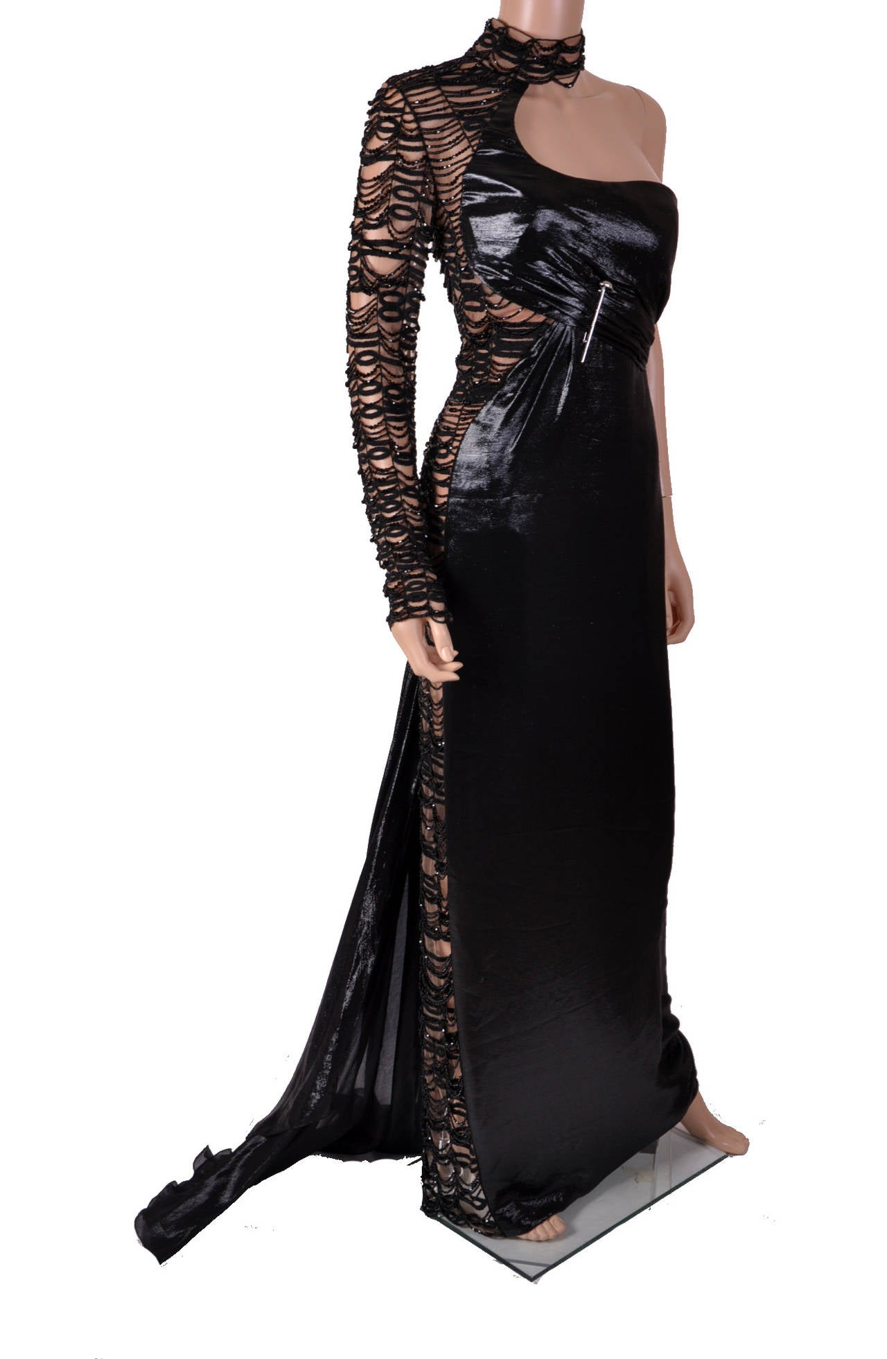 new versace black embellished gown for sale at 1stdibs