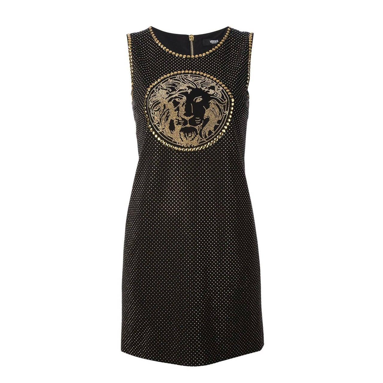 New Versace Versus Black Gold Studded Lionhead Dress 1