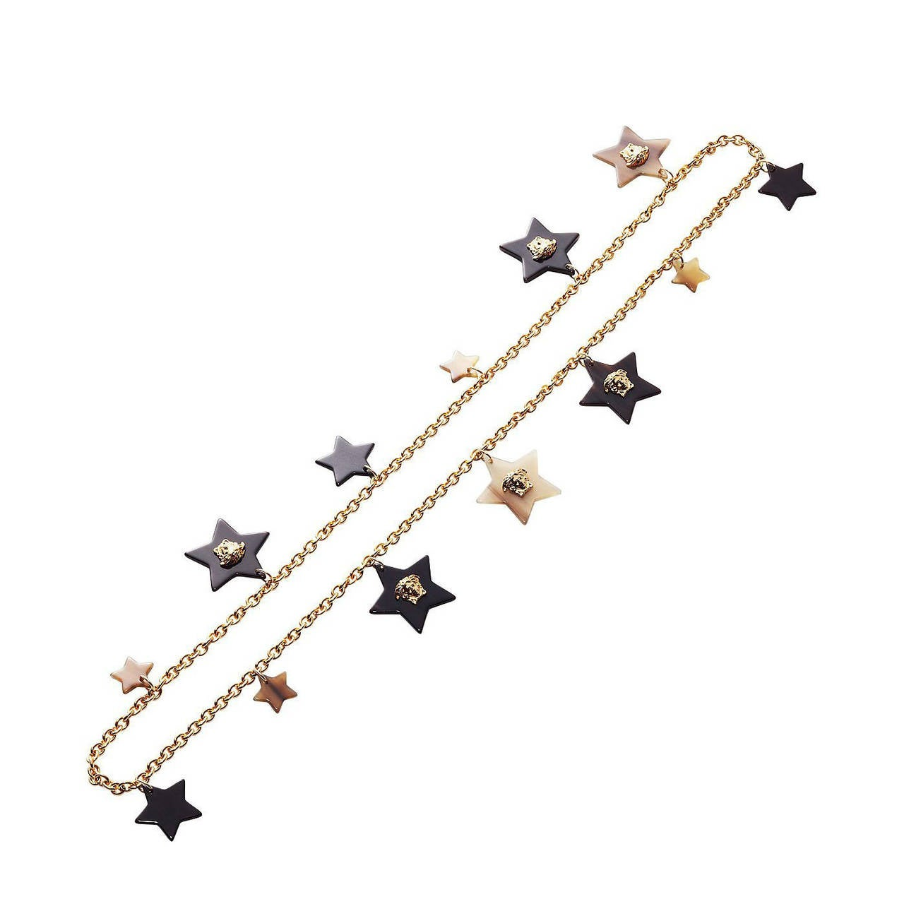 New Versace Gold Star Medusa Charm Chain Necklace 1