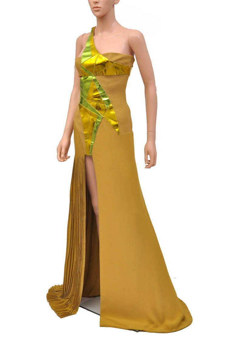 New VERSACE YELLOW SILK and LEATHER GOWN 3