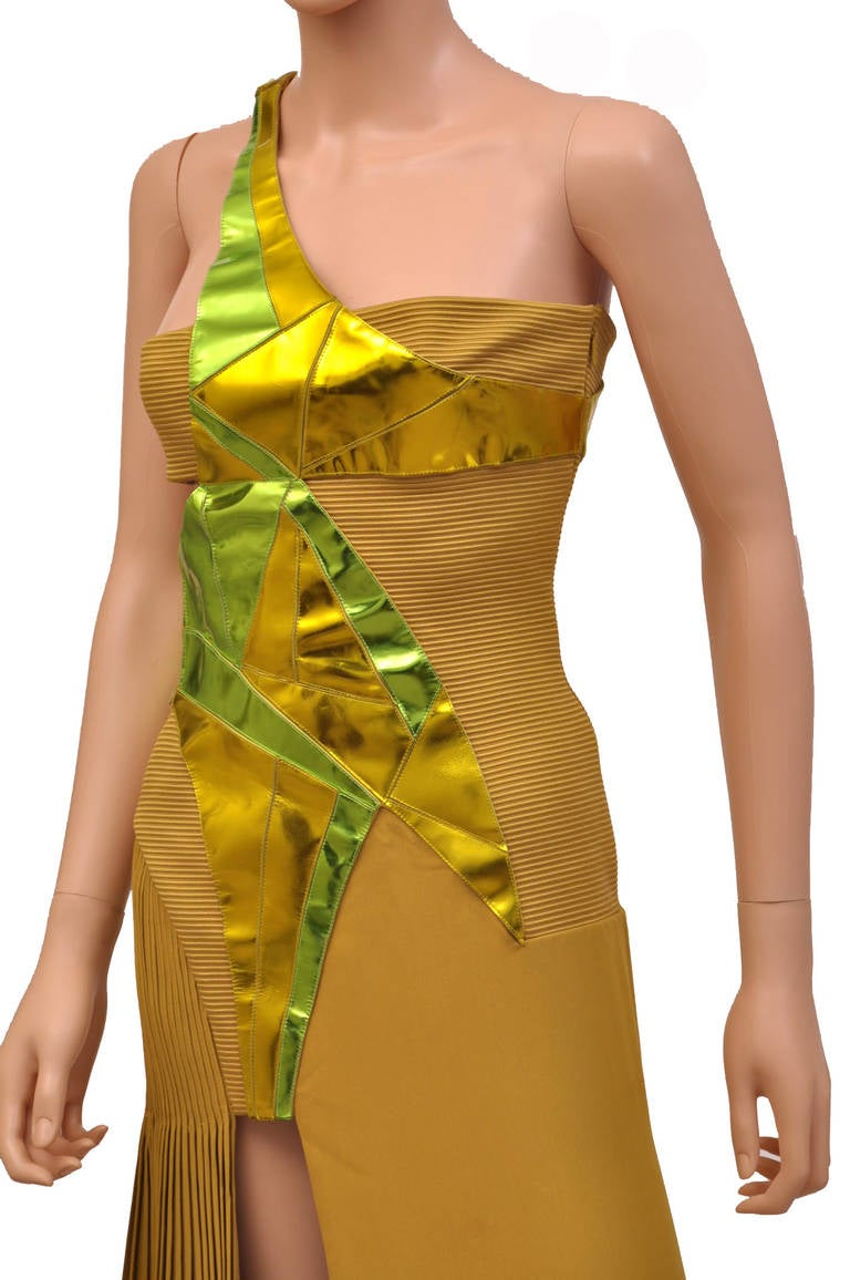 New VERSACE YELLOW SILK and LEATHER GOWN 4